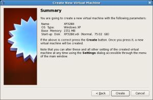 Virtual Box, Virtual Machine Create Button