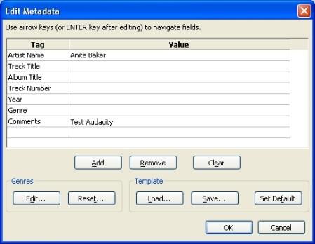 Audacity Track Metadata