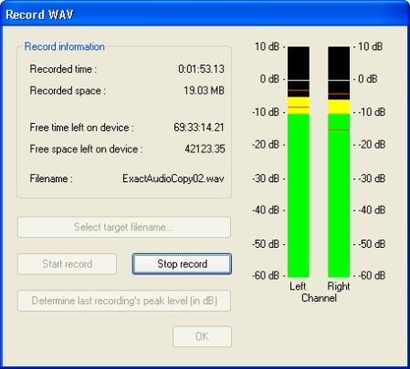 Exact Audio Copy Record