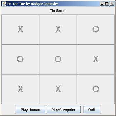 Tic Tac Toe Tie Game