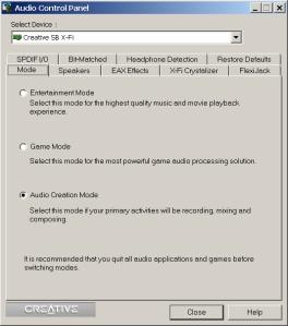 CreativeAudioControlPanel