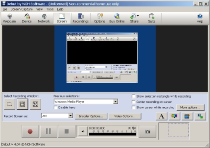DebutScreenCaptureSW